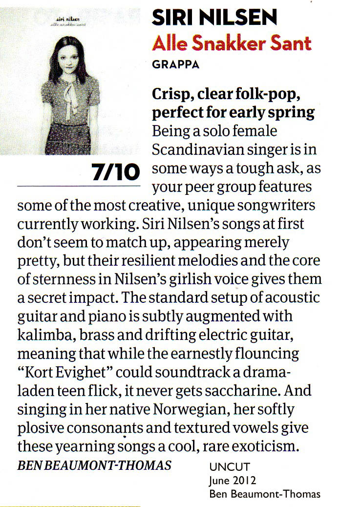 Siri Nilsen rewiev in British Uncut music magazine